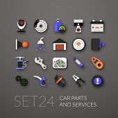 stock photo of car symbol  - Flat icons set 24  - JPG