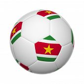 stock photo of suriname  - 3D Flags on soccer ball of Suriname - JPG