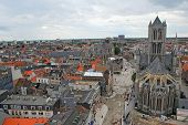 picture of gents  - Skyline panoramic view of the medieval Gothic city of Gent Belgium