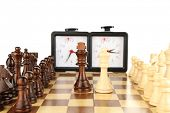 picture of chessboard  - Chessboard with chess and clock - JPG