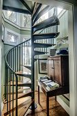 stock photo of spiral staircase  - spiral staircase in home with lots of windows - JPG