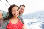 stock photo of selfie  - Cruise ship couple taking selfie self portrait photo romantic - JPG