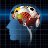 image of psychological  - Sport psychology concept as a group of sports equipment shaped as a human brain as a mental health symbol for the relationsip between psychological and physical elements of neurology to improve performance in athletes and treating competitive anxiety - JPG