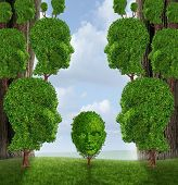 stock photo of nurture  - Community assistance and public support concept as a group of adult human head shaped trees giving help to a young child plant as a nurturing metaphor for government social services in education and friendship - JPG
