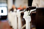 image of church interior  - Interior of beautiful european church ready for wedding ceremony.