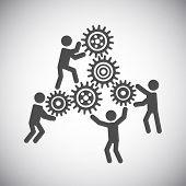 stock photo of gear wheels  - Gear cog wheels teamwork working people collaboration concept vector illustration - JPG