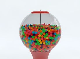 image of gumball machine  - 3d rendered illustration of colorful gumball machine isolated - JPG