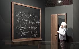image of einstein  - Chalkboard with math formulas and Einstein model - JPG