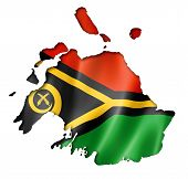 picture of three-dimensional  - Vanuatu flag map three dimensional render isolated on white - JPG