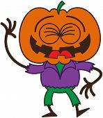 picture of scarecrow  - Funny scarecrow with a big orange pumpkin as head - JPG