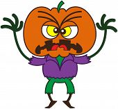 pic of scarecrow  - Irritated scarecrow with a big orange pumpkin as head - JPG