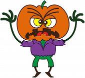pic of irritated  - Irritated scarecrow with a big orange pumpkin as head - JPG