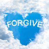 stock photo of forgiveness  - sky cloud forgive concept word inside heart shape - JPG