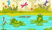 pic of cute frog  - Two cute frogs are sitting on water lilies and looking at colorful dragonflies - JPG