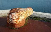 picture of bollard  - Large metal nautical Bollard detail on pier.