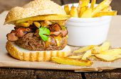picture of beef-burger  - Beef burger with bacon cheddar homemade solty fries - JPG