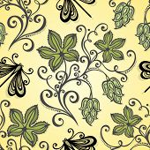 stock photo of hop-plant  - Seamless Floral Pattern  - JPG