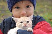 stock photo of catnip  - boy portrait with little kitten outdoor in fall - JPG