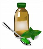 stock photo of cough syrup  - Therapeutic mint cough syrup in a glass bottle - JPG