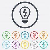 stock photo of lightning  - Light lamp sign icon - JPG