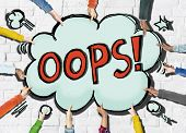stock photo of oops  - Cloud Shaped Speech Bubbles with the Word OOPS - JPG