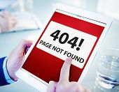 foto of not found  - Man Using Digital Tablet Page Not Found - JPG