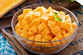 picture of butternut  - Diced butternut squash in a bowl ready for cooking - JPG