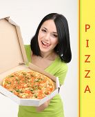 pic of take out pizza  - Beautiful girl with delicious pizza in pizza box isolated on white - JPG