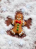 stock photo of ginger man  - Gingerbread Man Snow Angel - JPG