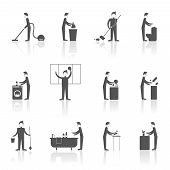 image of housekeeper  - Cleaning black icons set with people figures and housekeeping equipment isolated vector illustration - JPG