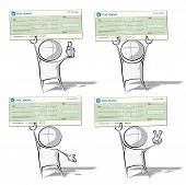 foto of generic  - Set of 4 sparse vector illustrations of a of a generic cartoon character a big bank check on various poses - JPG