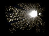 stock photo of stock market data  - Stock market ticker boards circular arranged as a tunnel with light at the end - JPG