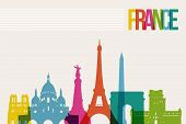picture of world-famous  - Travel France famous landmarks skyline multicolored design background - JPG