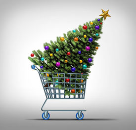 stock photo of friday  - Christmas shopping concept as a store shop cart hauling a decorated festive holiday pine tree as a symbol for black friday sale or purchasing gifts and sales online - JPG