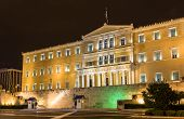 foto of evzon  - Hellenic Parliament at night  - JPG