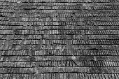 stock photo of shingles  - Wood shingles on an old roof  - JPG