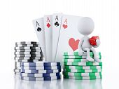 Постер, плакат: 3d White people with casino tokens and cards