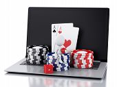 foto of dice  - Casino online gaming concept 3d rendered image of white person with casino tokens - JPG