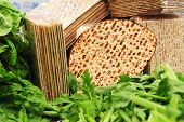 stock photo of religious  - A variety of different types of matza  - JPG