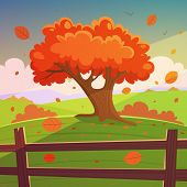 foto of bird fence  - Cartoon illustration of the tree on hill with wooden fence - JPG
