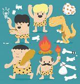 picture of caveman  - Illustration Cartoons concepts  Caveman set  - JPG