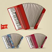 stock photo of accordion  - Realistic illustration of the accordion three colors with patterns - JPG