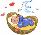 stock photo of bassinet  - Digital illustration of cute baby boy sleeping in his cot - JPG
