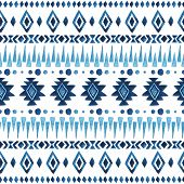 stock photo of indian blue  - Watercolor ethnic seamless pattern - JPG