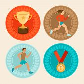 picture of achievement  - Vector achievement badges in flat style  - JPG