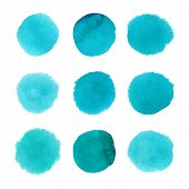 stock photo of aquamarine  - Set of watercolor hand painted dots - JPG