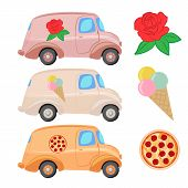 pic of ice-cream truck  - Trucks painted with the logo of roses  - JPG