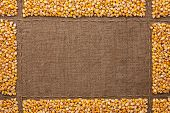 picture of sackcloth  - Beautiful frame with corn on sackcloth with place for your text drawing - JPG