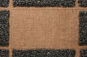 foto of sackcloth  - Beautiful frame with sunflower seeds on sackcloth with place for your text graphics - JPG