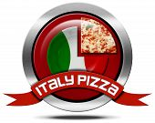 stock photo of italian flag  - Icon with a pizza slice plate with Italian flag and red ribbon with text Italy pizza - JPG